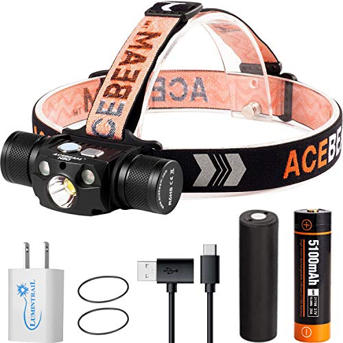 Acebeam H30 LED USB-C Rechargeable Headlamp | 4000 Lumens | White, Red, and Green LED | Great for Hunting, Fishing, Cycling, Camping, Backpacking, and Reading | with a Lumintrail Wall Charger