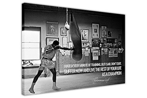 CANVAS IT UP Schwarz Weiß Muhammad Ali Champion Zitat Leinwand Wand Art Prints Zimmer Dekoration Bilder