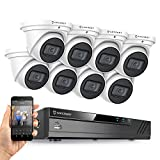 Amcrest 4K Security Camera System w/ 4K 16CH (8-Port PoE) NVR, (8) x 4K (8-Megapixel) Metal Turret Dome POE IP Cameras (3840x2160), Hard Drive Not Included, NV4116E-IP8M-T2599EW8 (White)