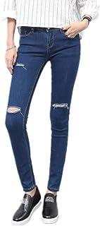 女性のジュニアはスリムフィットストレッチジーンズスキニーデニムカプリパンツをリッピング (Size : 28)