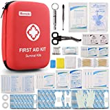 【A Must Have First Aid Kit For Your Active Life!】 Monoki First Aid Kit come with All-Purpose Hihgest Standards Medical Trauma Supplies. Complete First Aid Kit with Bright Red Bag and Striking Red Cross Symbol, You can Quicky Find Everything You Need ...