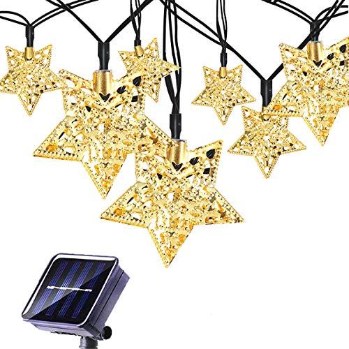 KINGCOO Led-lichtsnoer op zonne-energie, 3 m, 10 leds, Marokkaanse metalen sterren, zonne-energie, buitenverlichting, lantaarn, voor tuin, binnenplaats, huis, landschap, kerstfeest, verlichting, decoraties