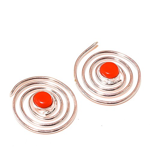 ¡Nueva llegada! ¡Gemas de CORAL rojo! ¡PENDIENTE circular de 1'de largo, para cónyuge! ¡Plateado, HECHO A MANO! ¡Joyas de Shivi!