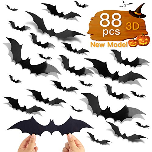88 Pcs DIY 3D Bats Halloween Decorations, 4 Different Sizes PVC Bat Stickers for Home Decor / Wall Decor / Indoor Party Decorations, with Double-Sided Adhesive Included