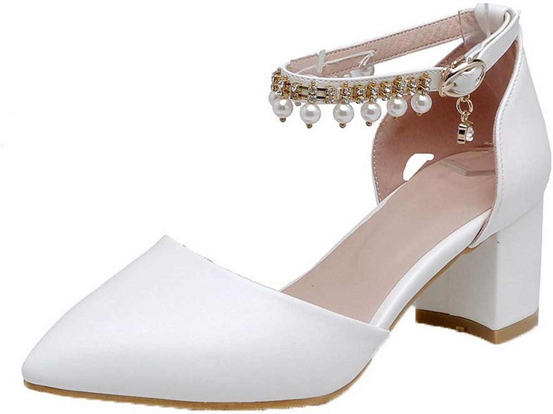 AllhqFashion Women's PU Kitten-Heels Closed-Toe Buckle Solid Sandals