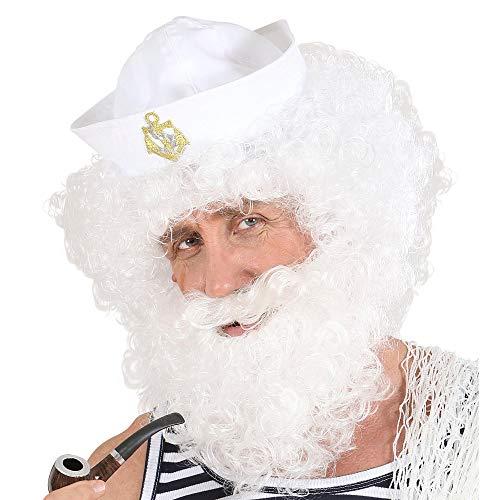 Widmann Perruque et barbe rICCE Mens, blanc, Taille unique, vd-wdm6493 W
