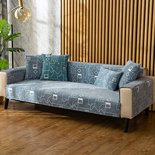 YUTJK Cojín de sofá geométrico abstracción,Cojín de Sofá Universal de Cuatro Estaciones,Cojín de Protección de Sofá,Funda de Asiento de Tela,Puede ser Alfombra,Azul