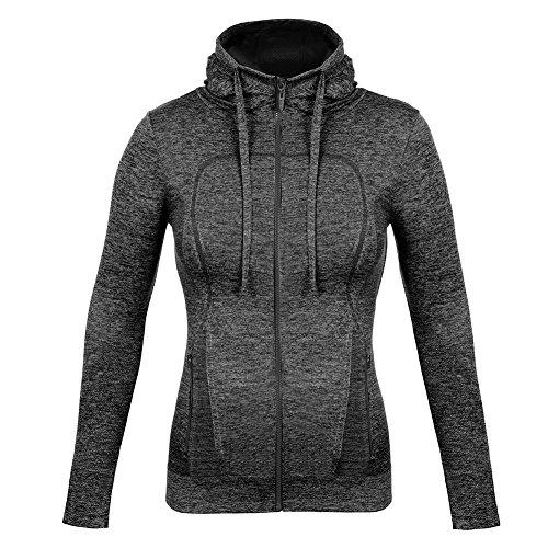 FITIBEST Women Full Zip Activewear Coat Yoga Slim Workout Sweatshirt Sports Jackets with Thumb Holes (L, Grey)
