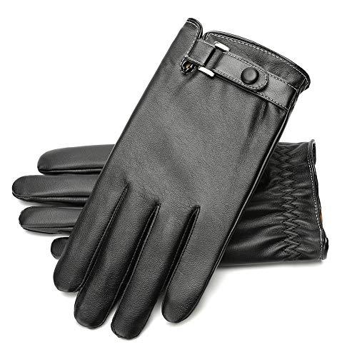 Guanti Pelle, Morbidi Impermeabili Invernali Caldi in Alla moda Neri con rivestimento pesante per proteggere le mani di e Donne (nero)