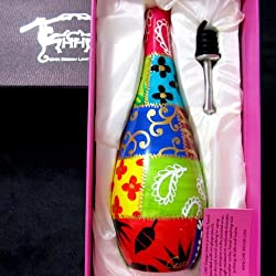 pretty hand painted olive oil drizzler bottle