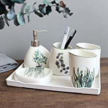 Nordic Green Plant Ceramic Six-Piece Bathroom Products Simple Five-Piece Wedding Bath Set Bathroom Ceramic Set Melamine Tray Rocco Bathroom Accessories Sets by 1 PCS