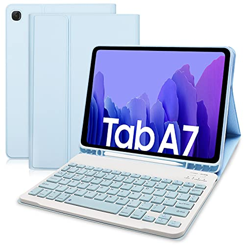 Hofsos Funda con Teclado para Samsung Galaxy Tab A7 10.4 2020 (SM-T500/T505/T507) - Funda Protectora con Ranura de Lápiz, Teclado Desmontable Inalámbrico para Samsung Galaxy Tab A7(Azul Cielo)