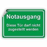 NOTAUSGANG / Diese Tür darf nicht zugestellt werden - SCHILD / D-071 (45x30cm Aufkleber)