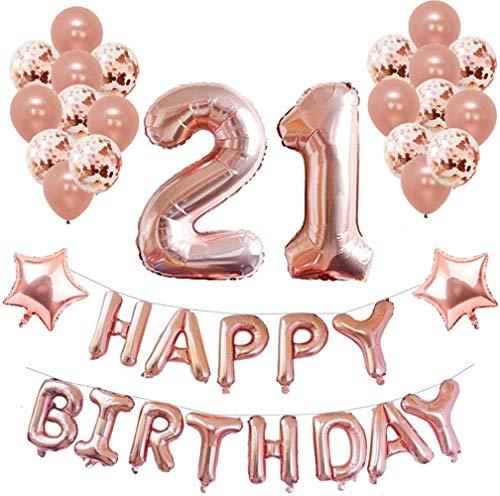 TUWDecoraciones de cumpleaños Rosa para Suministros de Fiesta 39 Piezas con Feliz cumpleaños Banner Confeti Globos de látex Globos de Papel de Estrella, Oro Rosa 03