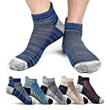 Mens Ankle Socks, Cotton Athletic Sock Moisture Wicking Sports Socks Non-Slip Breathable Running Socks for Men (5 Pairs)