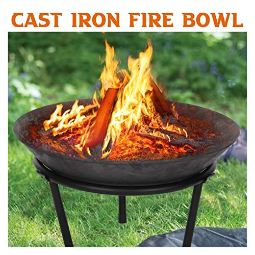 55 x 55 cm Steel Large Fire Bowl Cast Iron Firepit Modern Stylish Fire Pit Garden Outdoor for Garden Patio Terrace Camping