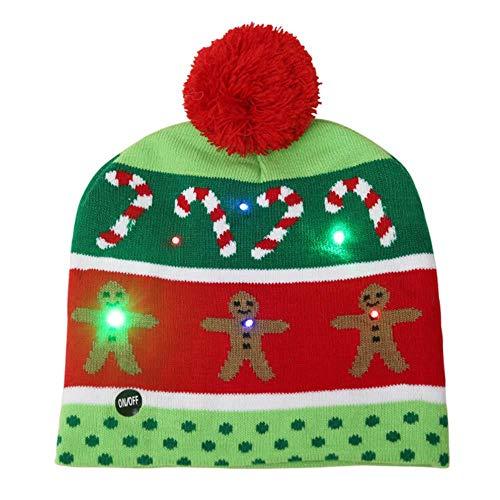 XHONG Beleuchtete Weihnachtsmütze, LED-beleuchtet, Beanie-Mütze, Mütze mit Beleuchtung, für Valentinstag, Halloween, Weihnachten, Party, Radfahren, Tanz, Geburtstag, Jungen, Lebkuchenmann, 22x25cm