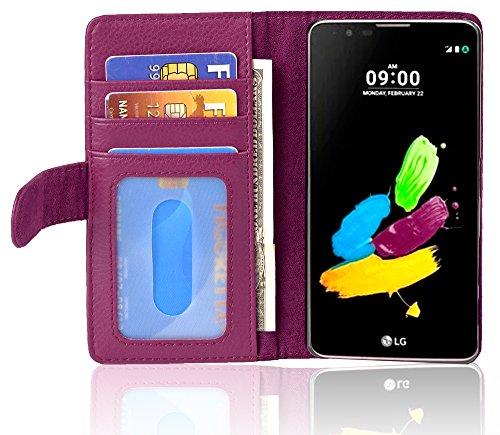 Cadorabo Hülle für LG K8 2016 - Hülle in Bordeaux LILA – Handyhülle mit 3 Kartenfächern - Hülle Cover Schutzhülle Etui Tasche Book Klapp Style