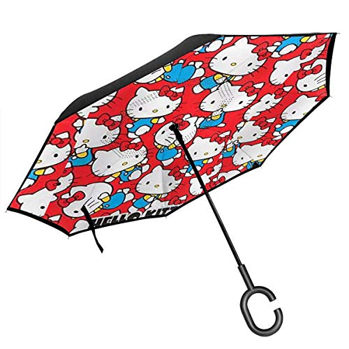 Lxjjj Hello Kitty in Red Background Reverse & Inverted Umbrella, Umbrella Windproof,Umbrellas for Women with UV Protection, Upside Down Umbrella with C-Shaped Handle