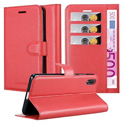 Cadorabo Hülle für Cubot J3 in Karmin ROT - Handyhülle mit Magnetverschluss, Standfunktion und Kartenfach - Case Cover Schutzhülle Etui Tasche Book Klapp Style