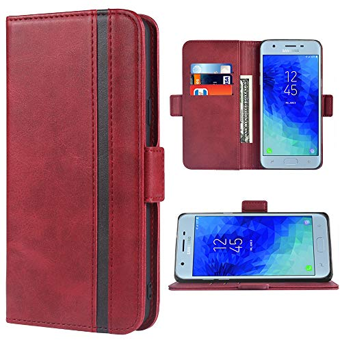 Phone Case for Samsung Galaxy J3 Orbit Star 2018 J 3 Achieve Wallet Leather Cases Folio Flip Cover Credit Card Holder Stand Cell Accessories Glaxay J3V V 3rd Gen SM J337A J337V J337 Women Girls Red