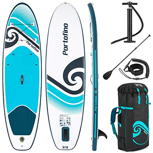 Portofino Inflatable Stand Up Paddle Board, 10ft x 33' x 4.75' SUP, All Round Paddleboard With Accessories, Backpack Bag, Adjustable Aluminium Oar, Pump, Pressure Gauge, Leash, Removable Fin