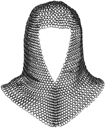 Mythrojan Chainmail Coif Medieval Knight Renaissance Armor Chain Mail Hood Viking LARP 16 Gauge Silver