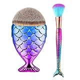 Tvoip 2PCS Fishtail Bottom Brush Powder Blush Makeup Cosmetic Mermaid Brushes Tool Fish Scale Makeup Brush mermaid brush fondation pinceles