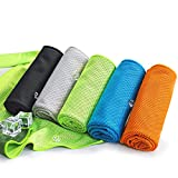 5 Pack Coma Cooling Towels, Soft Breathable Microfiber Ice Towel for Gym, Running, Golf, Workout, Camping, Fitness, Travel, Super Absorbent Lightweight Towel for Outdoor Sports Instant Cooling Relief