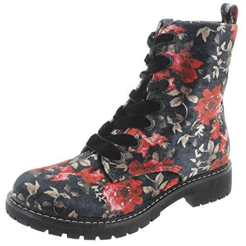 MIK Funshopping Schnürstiefel Boots für Damen mit Blumen-Muster aus veganem Leder 221513 (Schwarz, Numeric_40)