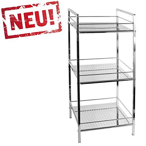 modernes Badregal Küchenregal Badezimmer Standregal mit 3 Ablagen - Regal und Fächer aus Metall -...