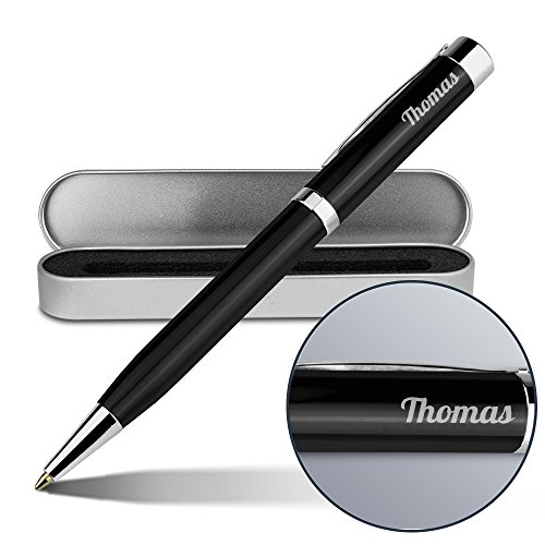 Kugelschreiber mit Namen Thomas - Gravierter Metall-Kugelschreiber von Ritter inkl. Metall-Geschenkdose