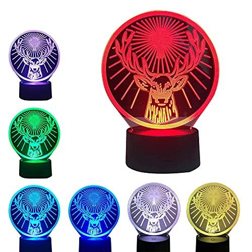 Juguetes de luz nocturna 3D, lámpara de ilusión 3D con cambio de 7 colores y control remoto, base de lámpara táctil inteligente, lámpara de visualización creativa USB para niños y niñas