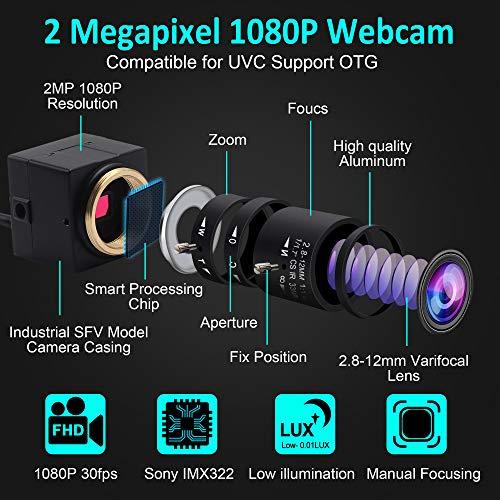 ELP 0.01 Lux Webcam 1080P Weitwinkel Einstellbar 2.8-12mm Vario Objektiv Low Illumination Minikamera 1/2.9 inch IMX322 Webkamera for Linux/Windows/Android USBFHD06H-SFV(2.8-12mm)