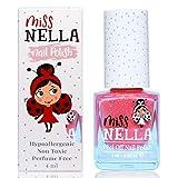 Miss Nella MARSHMALLOW OVERLOAD- Rose Vernis à ongles spécial avec des paillettes pour enfants, formule Peel-off, à base d'eau et sans odeur