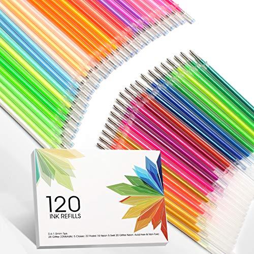 ZSCM 120 Colors Gel Pen Ink Refills, Glitter Neon Gel Ink Pens Refills Replace Cartridges for Glitter Gel Pens Set, No Repeats