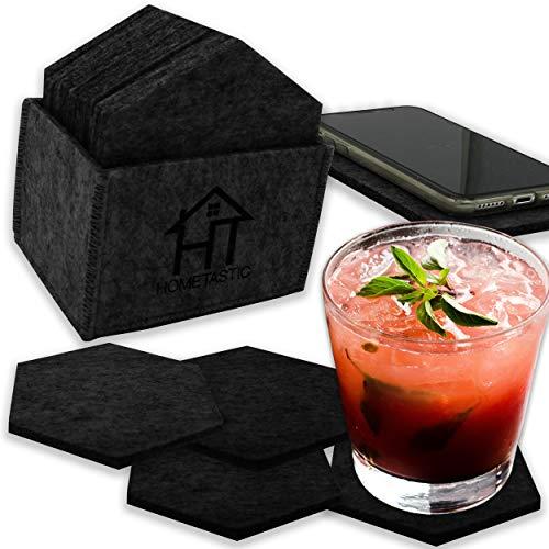 Premium Filzuntersetzer im 14er Set | 12 Glasuntersetzer mit Aufbewahrungsbox + 2 Tischuntersetzer für's Smartphone | Untersetzer in dunkelgrau für Bars, Getränke, Tassen und Glas (hexagon dunkelgrau)