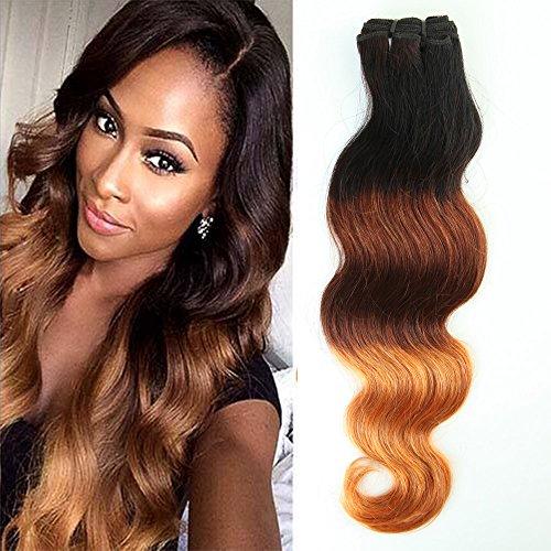 Tissage Bresilien Cheveux Humain Naturel Ondulé Dégradé - #1B/33/27 Noir Naturel à Auburn à Blond foncé - Brazilian Remy Human Hair Ombre - 1 PCS (100