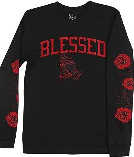 Men's Black Blessed Long Sleeve T Shirt Roses on Sleeve Flower Red Rose Tee