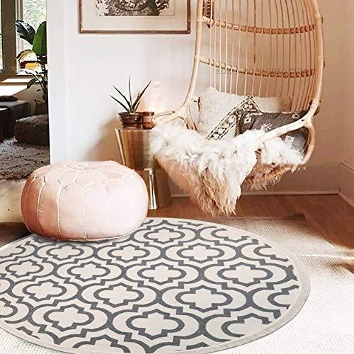 Pauwer Runder Teppich Handgewebte Baumwolle Teppiche mit Quasten rutschfest Abwaschbar Teppiche für Wohnzimmer Schlafzimmer (120cm)