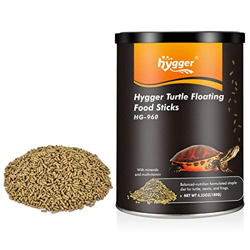 hygger 6.35oz Turtles Formula Food Sticks for All Ages, Blend Aquatic Formula Food Also for Newts, Frogs, Lizard