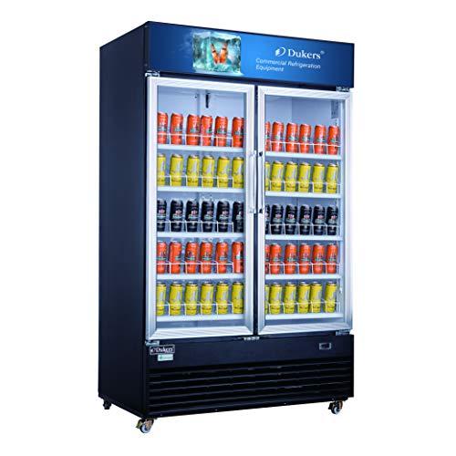 Dukers DSM-41R 34.3 cu. ft. Commercial Glass Swing 2-Door Merchandiser Refrigerator