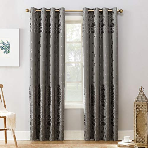 Elidah Medallion Bonded Velvet 100% Blackout Grommet Curtain