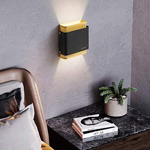 TY-ZWJ Lámpara de Pared de Malla Cuadrada de Hierro, Espejo de Mesa de Lujo Moderno, lámpara Frontal, Corredor, lámpara de Noche, luz de Noche, con lámpara de Pared Blanca cálida,Negro