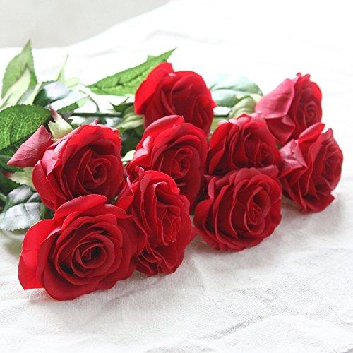 Calcifer® 10 Nouvelle Simulation Soie de haute qualité Fleurs roses fleurs artificielles (Rouge)