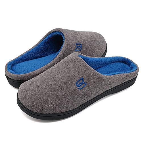 Zapatillas Hombre Mujer Invierno CáLido Zapatos Memory Foam Casa Antideslizante Pantuflas (Y-Gris/Azul, 42/43 EU)