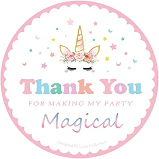 Kreatwow Magical Unicorn Stickers Thank You Stickers for Unicorn Party Supplies 48 Pack