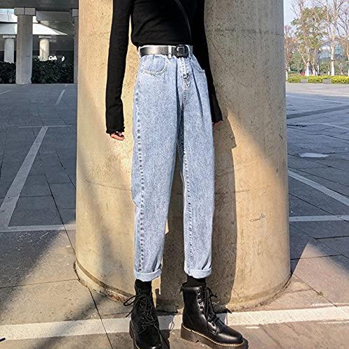 QXXKJDSjeans Vår/Sommar Fashion 9-Point Straight Jeans Kvinnors Storlek Hong Kong Style Hög Midja Slim Fat Loose Joker Byxor jeans (Color : Light Blue, Size : L)