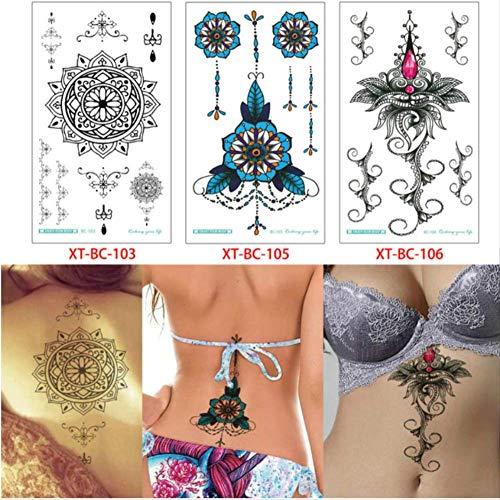 yyyDL Etiqueta engomada temporal impermeable del tatuaje Pecho Joyas Colgante Tatuaje Temporal para Mujeres Bajo Teta Esternón Arte DIY Maquillaje Tatuaje Pegatinas 13.8 * 24 cm 3 piezas