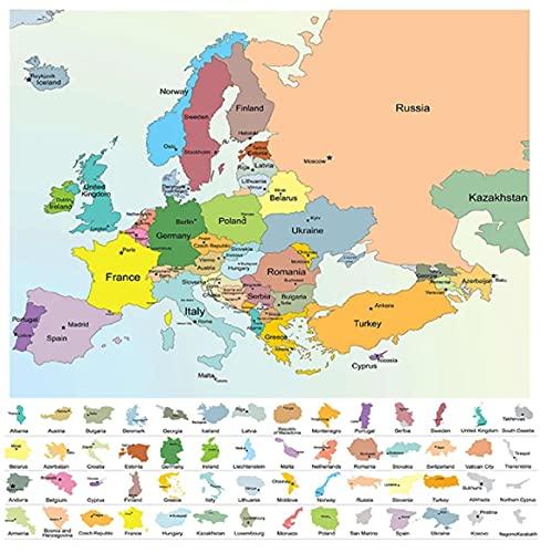 HJHJHJ 1000 de Rompecabezas para Adultos, póster de Mapa político Europeo, Rompecabezas Educativo de diversión Intelectual para Adultos, niños, Adolescentes, 75x50cm